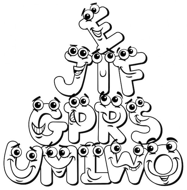 Personaggio Dei Cartoni Animati Lettera Libro Da Colorare