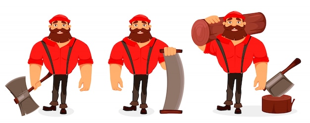 Personaggio dei cartoni animati lumberjack Vettore Premium