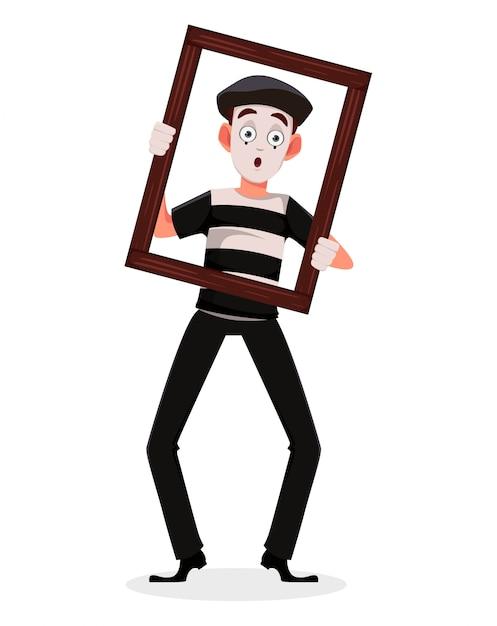 Personaggio dei cartoni animati mime Vettore Premium