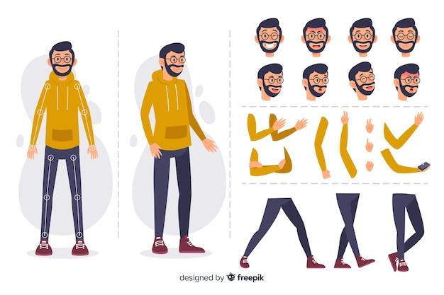 Personaggio dei cartoni animati per la progettazione del movimento Vettore gratuito