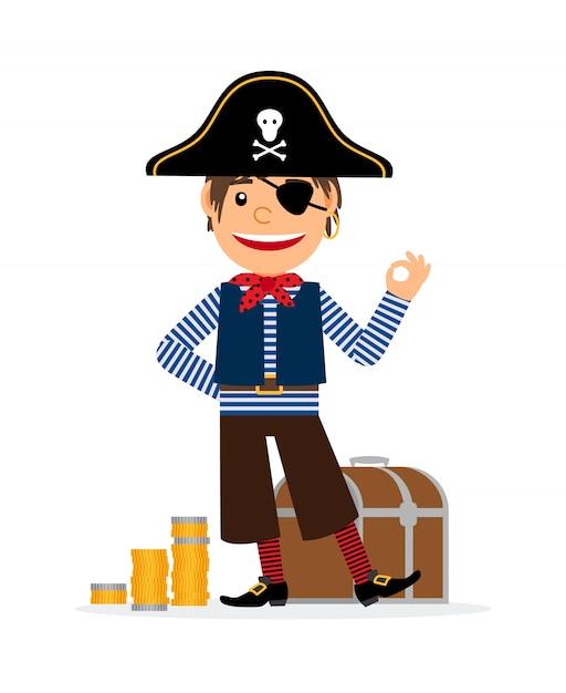 Personaggio dei cartoni animati pirata con monete d'oro e scrigno del tesoro Vettore Premium