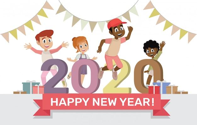 Personaggio dei cartoni animati pone felice nuovo anno 2020 Vettore Premium