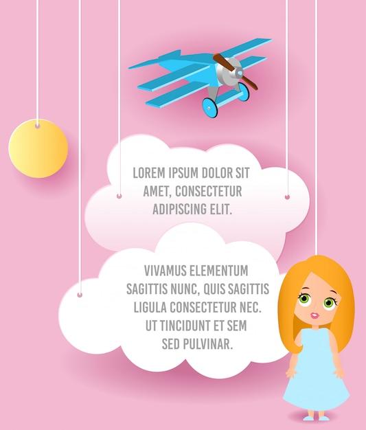 Personaggio dei cartoni animati ragazza carina. vector paper art di nuvola e aereo che vola nel cielo. pubblicità modello. Vettore Premium