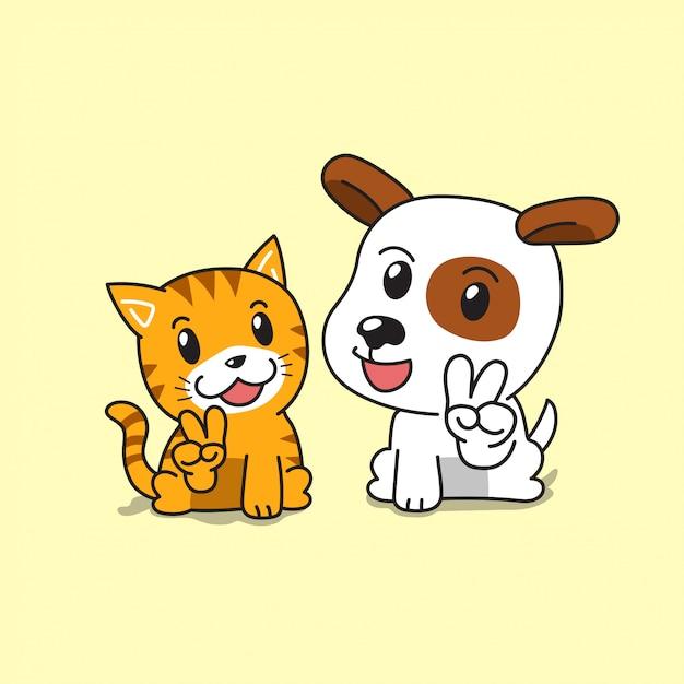 Personaggio dei cartoni animati simpatico gatto e cane Vettore Premium