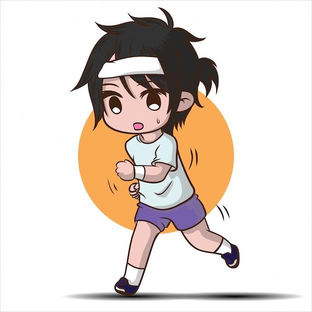 Personaggio dei cartoni animati sveglio del ragazzo di corsa. Vettore Premium