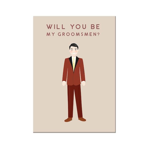 Personaggio dei cartoni animati sveglio dell'uomo nell'invito rosso dello sposo groomsmen Vettore Premium