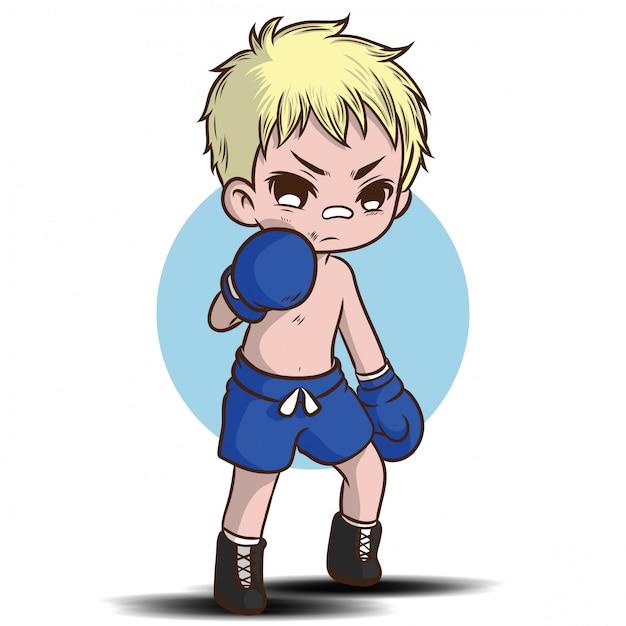 Personaggio dei cartoni animati tailandese sveglio del ragazzo. Vettore Premium