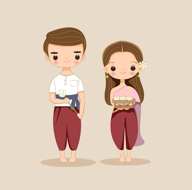Personaggio dei cartoni animati thai coppia carina Vettore Premium