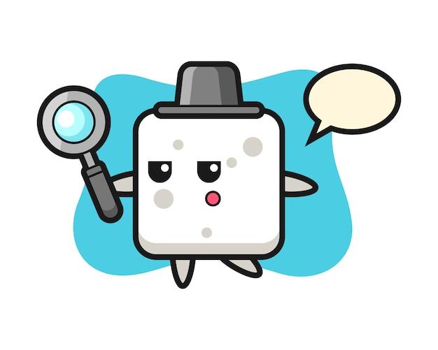 Personaggio dei cartoni animati zolletta di zucchero alla ricerca con una lente d'ingrandimento, stile carino per maglietta, adesivo, elemento logo Vettore Premium