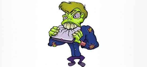 Personaggio dei cartoni animati zombie distruggere un