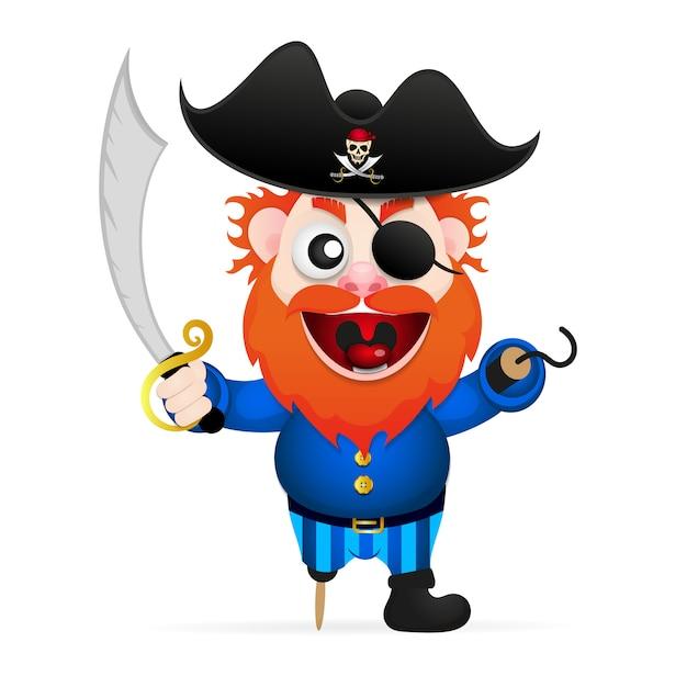 Personaggio dei pirati divertenti cartoni animati Vettore Premium