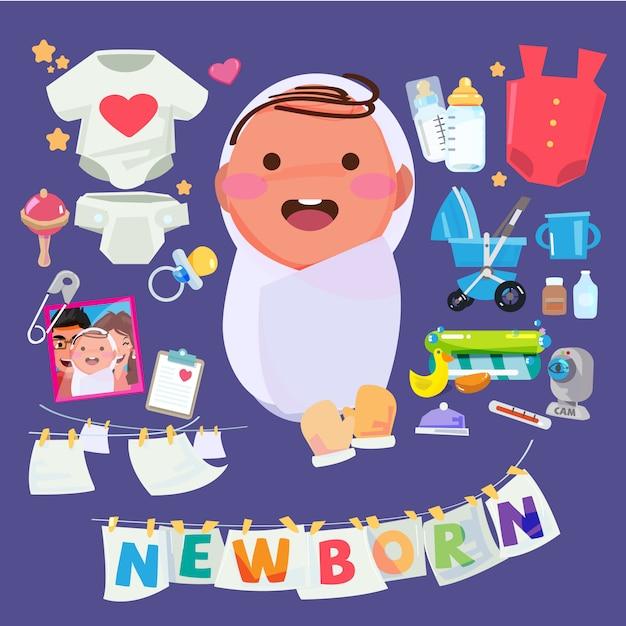 Personaggio del neonato con set di accessori per la cura dei bambini. tipografico per la progettazione dell'intestazione Vettore Premium
