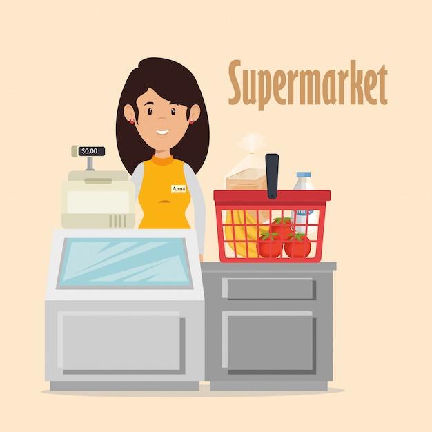 Personaggio della donna venditore supermercato Vettore gratuito
