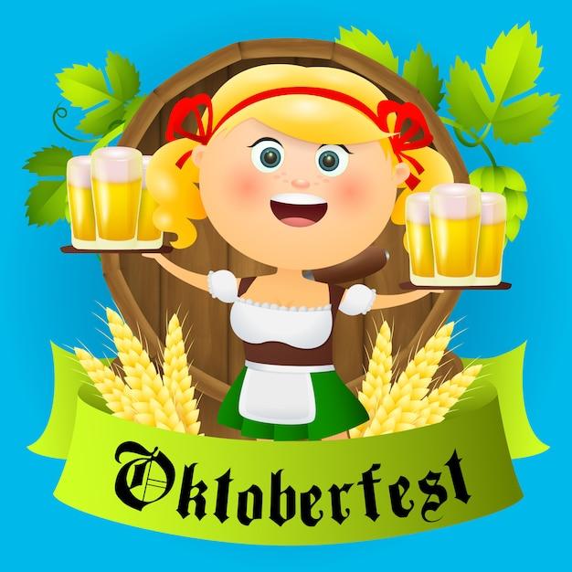 Personaggio della ragazza del fumetto dell'oktoberfest con birra Vettore gratuito