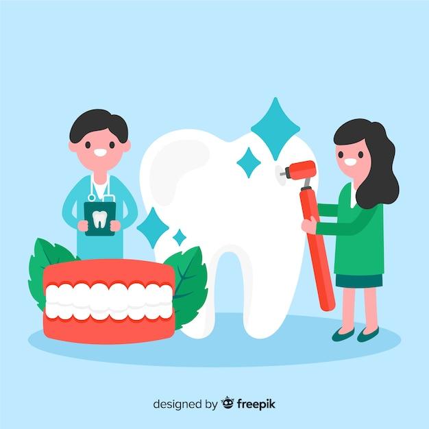 Personaggio dentista piatto Vettore gratuito