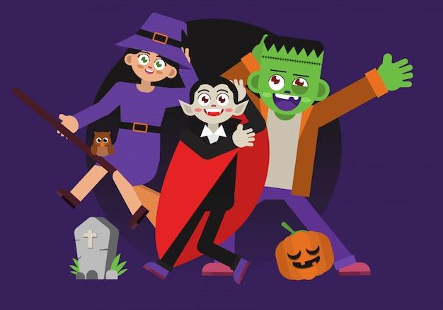 Personaggio di costume divertente di halloween Vettore Premium
