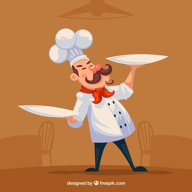 Personaggio di cuoco felice con due piatti Vettore gratuito
