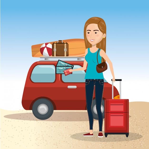 Personaggio di donna sulla spiaggia Vettore gratuito
