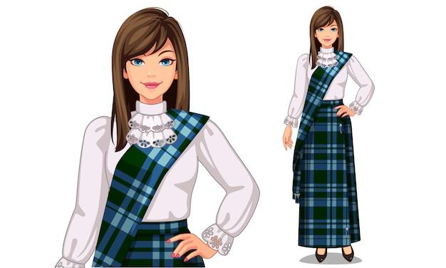 Personaggio di donne scozzesi con abbigliamento tradizionale Vettore Premium