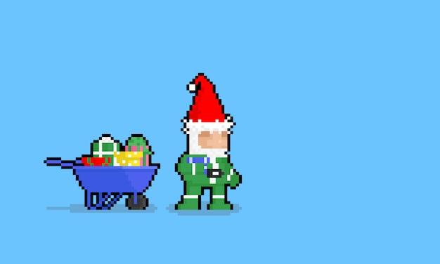 Personaggio di gnomo del fumetto di arte del pixel con scatole regalo. Vettore Premium