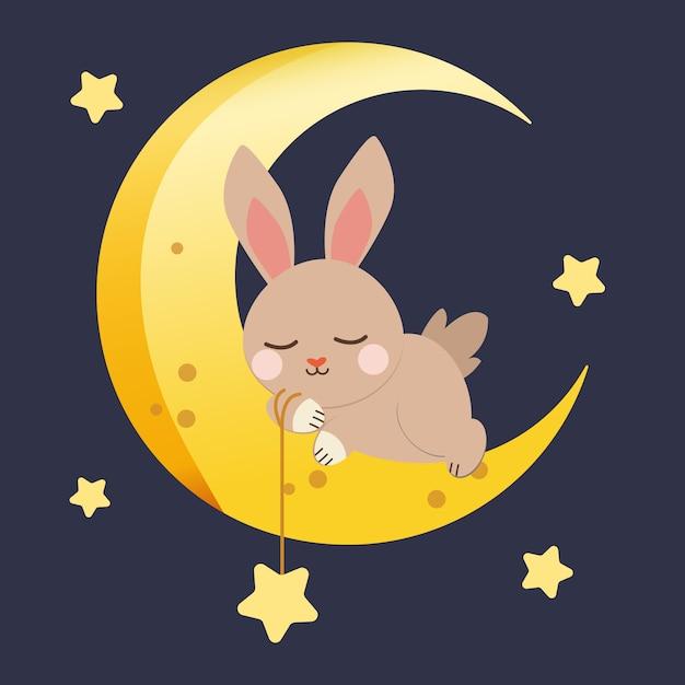 Personaggio di simpatico coniglio che spicca con la luna e la stella sul blu scuro Vettore Premium