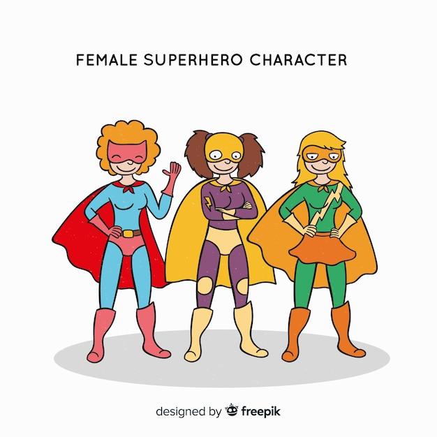 Personaggio femminile supereroe Vettore gratuito