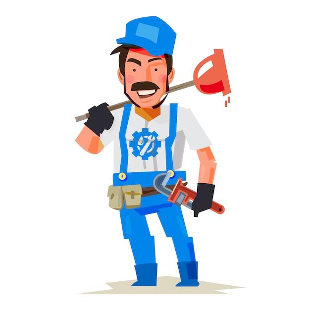 Personaggio idraulico Vettore Premium