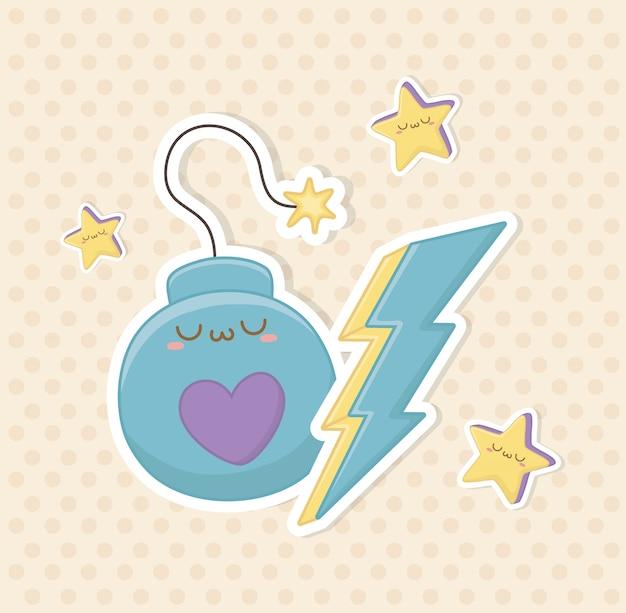 Personaggio kawaii divertente bomba fantasy e ray thunder Vettore Premium