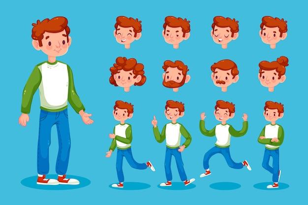 Personaggio maschile pone set di illustrazione Vettore gratuito