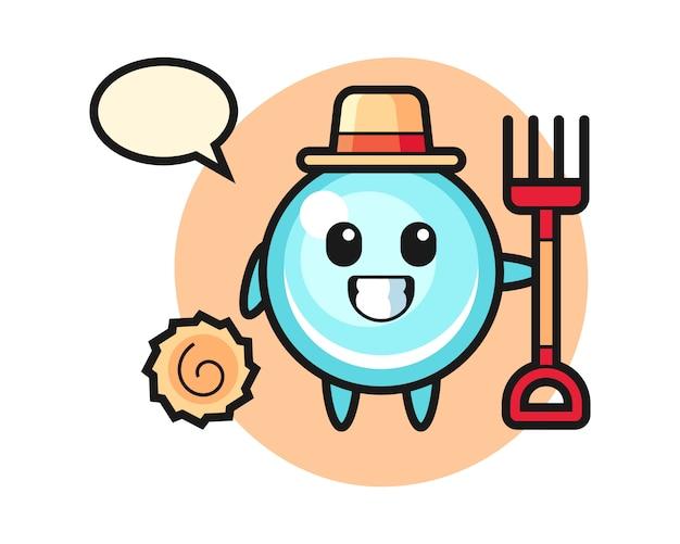 Personaggio mascotte della bolla come un contadino, design in stile carino Vettore Premium