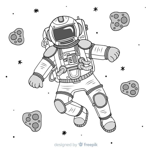 Personaggio moderno astronauta disegnato a mano Vettore gratuito