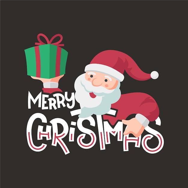 Personaggio natalizio con scritte Vettore gratuito