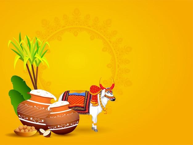 Personaggio ox con pentola di fango piena di riso pongali, foglie di banana, canna da zucchero e dolce indiano (laddu) su giallo con copyspace Vettore Premium