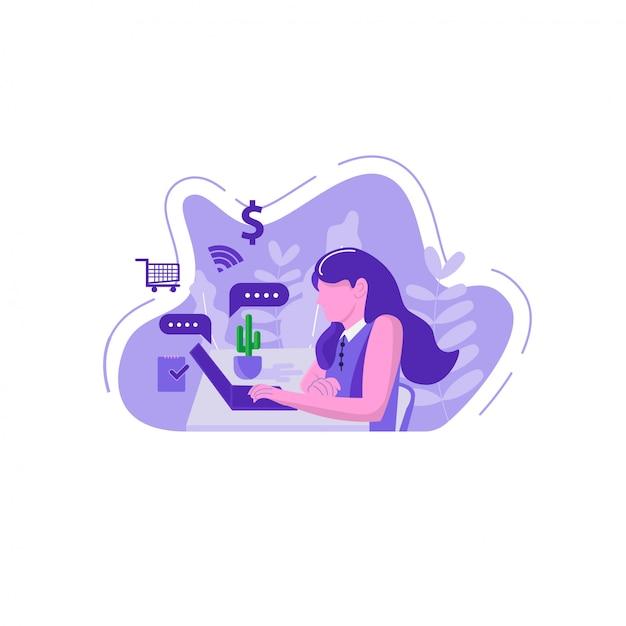 Personaggio piatto dello shopping online Vettore Premium