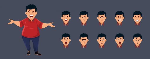 Personaggio ragazzo grasso con varie emozioni facciali. personaggio per animazioni personalizzate. Vettore Premium