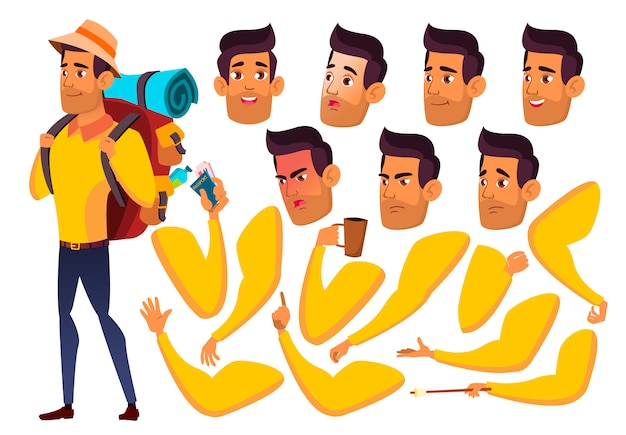Personaggio ragazzo teenager. arabo. costruttore di creazione per l'animazione. affronta le emozioni, le mani. Vettore Premium