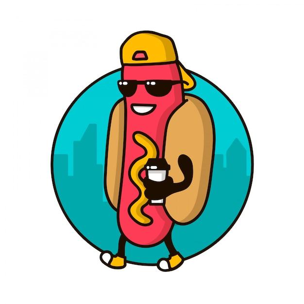 Personaggio simpatico guy hotdog con cappuccio da caffè che cammina sulla strada. modello di logo, badge per ristorante fast food Vettore Premium