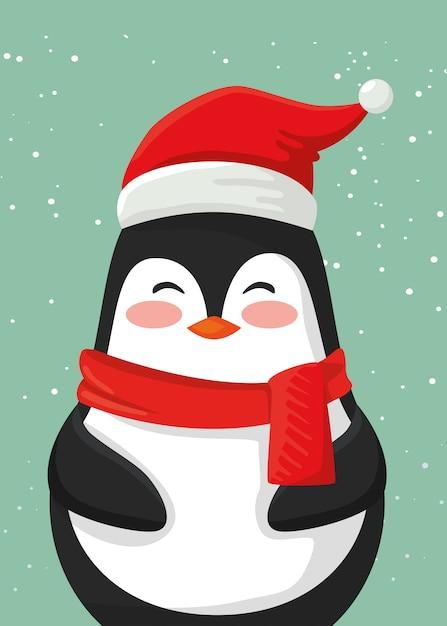 Personaggio simpatico pinguino di buon natale Vettore gratuito