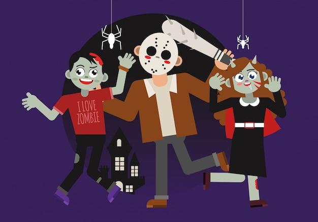 Personaggio spaventoso di halloween costum Vettore Premium