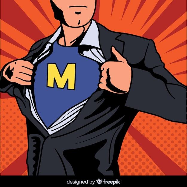 Personaggio supereroe con stile pop art Vettore gratuito