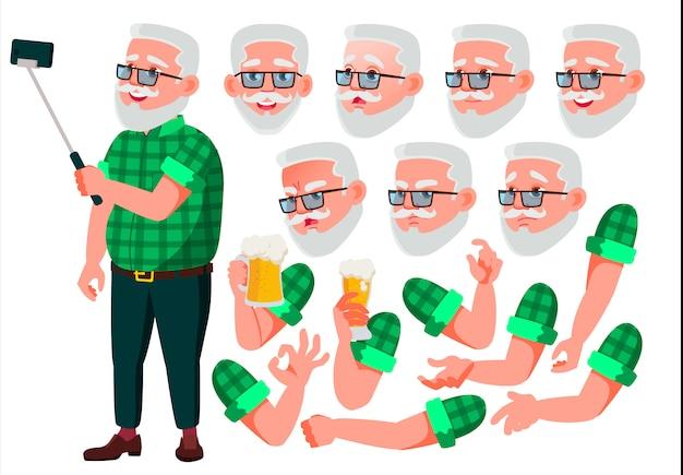 Personaggio vecchio. europeo. costruttore di creazione per l'animazione. affronta le emozioni, le mani. Vettore Premium