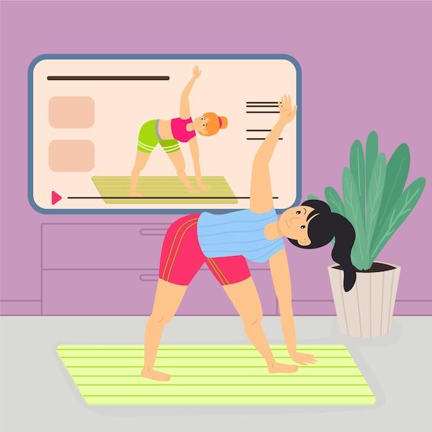 Personal trainer online Vettore gratuito