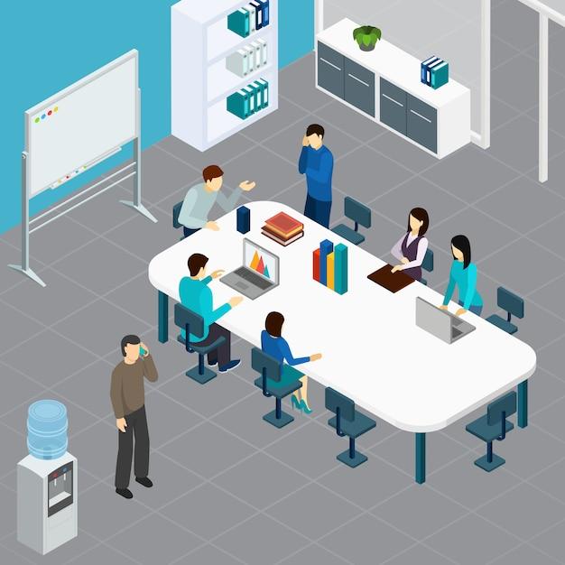 Personale di ufficio nel corso della riunione di lavoro alla grande tavola nell'illustrazione isometrica di vettore della composizione nell'auditorium Vettore gratuito