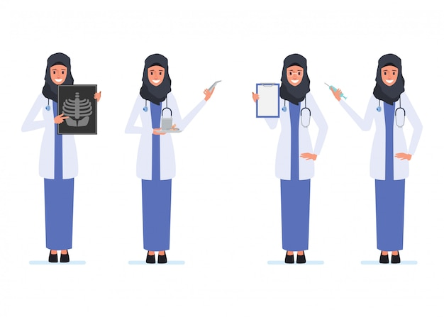 Personale medico di carattere medico musulmano o arabo. Vettore Premium