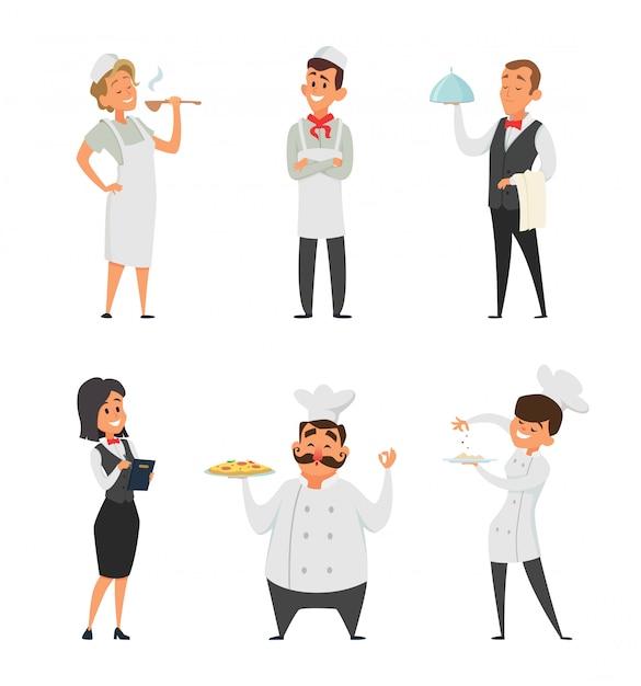 Personale professionale del ristorante. cuoco, cameriere e altri personaggi dei cartoni animati Vettore Premium