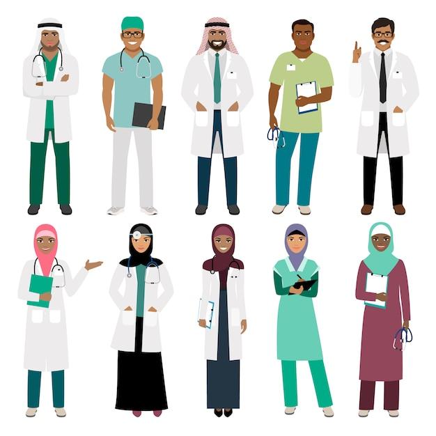 Personale sanitario musulmano medico arabo musulmano diritto del medico e vettore arabo dell'infermiere isolato Vettore Premium