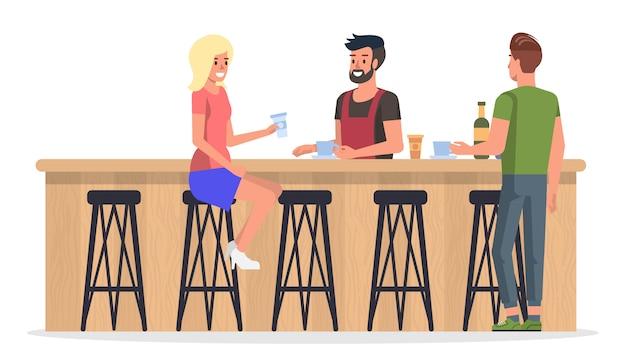 Persone al bar interno Vettore Premium
