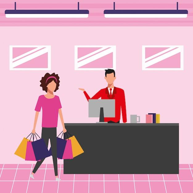 Persone al centro commerciale Vettore Premium