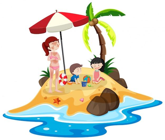 Persone alla vacanza sull'isola Vettore gratuito