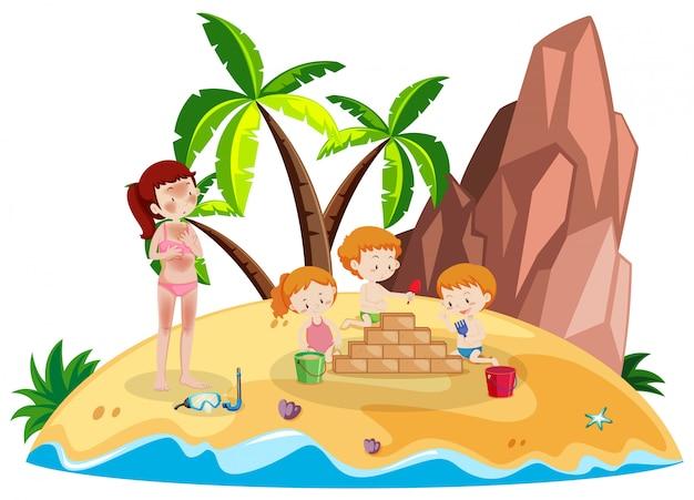 Persone alle vacanze dell'isola Vettore gratuito